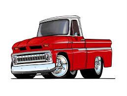 cartoon car 1946 chevrolet pickup truck automotive cartoon car art print