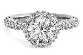 platinum pave rings images Round cut three row pave diamond halo engagement ring in platinum jpg