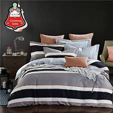 Comfortable Bed Sets Soft Grey Bedding Duvet Cover Set With Stripes Printed