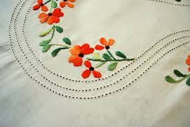 ribbon embroidery flower garden blue color camel embroidery work double bed sheet with two