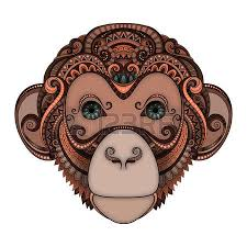 bright color illustration of a monkey in 2016 sketch of tattoo