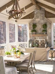 Screen Porch Fireplace by Rustic Fireplace Screened Porch Houzz