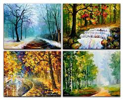 four seasons u2014 palette knife oil painting on canvas by leonid