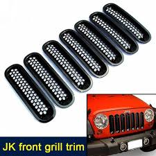 jeep front grill for 07 16 jeep jk wrangler black trim front grille cover insert