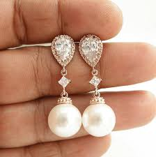 bridesmaid pearl earrings pearl gold earrings wedding jewelry cubic zirconia pearl drop