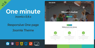 one minute responsive one page joomla template by theme olio