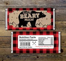 baby candy bar wrapper lumberjack bear party favors