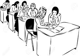 sketch of the girls in the audience sitting at the table royalty