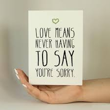 never to say sorry memorytag greeting cards