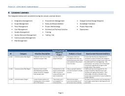 lessons learned report template lessons learned report