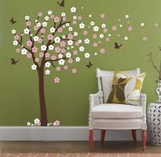 Cherry Blossom Tree Wall Decal For Nursery Cherry Blossom Tree Blowing In The Wind Wall Decals Nursery