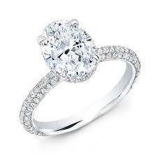 1 65 ct oval cut micro pave diamond engagement ring h vvs