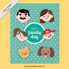 family day card with faces un flat design vector free