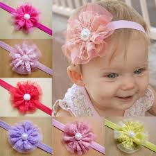flower bands elastic laces flower baby hair bands fancy lace hair