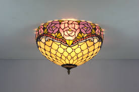 ceiling lighting stained glass tiffany style flush mount parrotuncle
