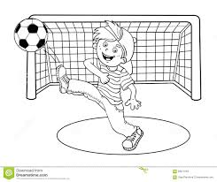 coloring page outline of a boy kicking a soccer ball stock vector