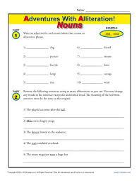 alliteration and nouns free printable worksheets alliteration