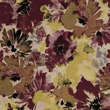 purple yellow floral upholstery fabric modern floral fabric for