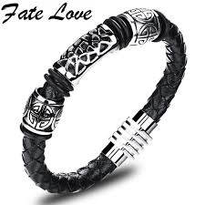 men braided leather bracelet images Fate love casual male jewelry black braided leather bracelet men jpg