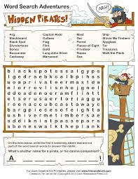 word search puzzles for kids kids party pinterest pirate