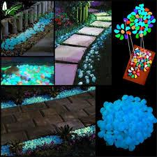Glow In The Dark Rocks | 100x glow in the dark pebbles stones garden vase luminous rocks