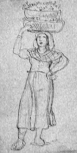 19th century genre drawings people