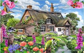 house wallpaper custom modern wooden english country house with colorful garden tv