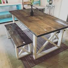 rustic farmhouse table with benches with dark walnut top and