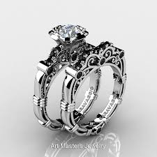 black engagement ring set masters caravaggio 14k white gold 1 0 ct white topaz black
