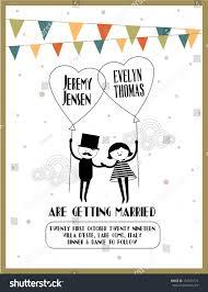 Wedding Invitation Card Template Balloon Wedding Invitation Card Template Vectorillustration Stock