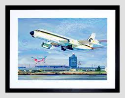 painting airport new york plane helicopter runway usa framed art
