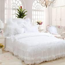 white lace wedding beding set girl full queen king luxury elegant fairyfair