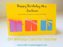 crafty couple birthday card for teacher
