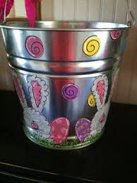 painted easter buckets easter personalized painted tin pail easter pail