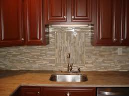 Kitchen Glass Backsplash Ideas by Glass And Stone Linear Backsplash With Accent Backsplash Designs