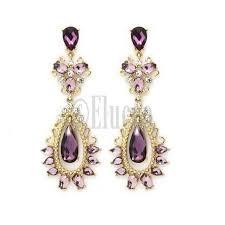 purple drop earrings purple rhinestone dangle water drop earrings chandelier