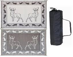 Camping Patio Mats by Ming U0027s Mark Pe1 8 U0027 X 18 U0027 Deer Reversible Rv Patio Mat Black Brown