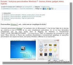 personnaliser bureau dossier complet pour personnaliser windows 7 bureau thème gadget
