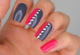 nails pink grey and studded with duri cosmetics manimonday