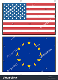 Union Flags American European Union Flags Politic Relations Stock Vector