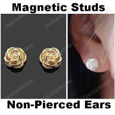 magnetic gold stud earrings magnetic clip on stud earrings flower gold silver plated non