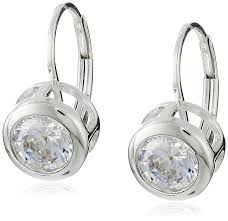 zirconia earrings platinum plated 925 sterling silver aaa cubic