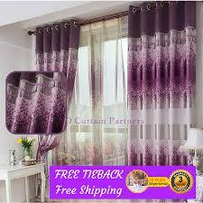 blockout purple lavender valance bedroom fabric drapes sheer