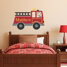 firetruck wall decal personalized boy name wall decal zoom