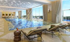 Residential Indoor Pool Plans Awesome Beautifully Residential Indoor Pool Design With Chic Floral