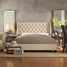 Beige Upholstered Bed Buy Inspire Q Naples Beige Linen Wingback Button Tufted