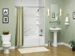 gray wall paint curtain bathtub mirror without frame washbasin