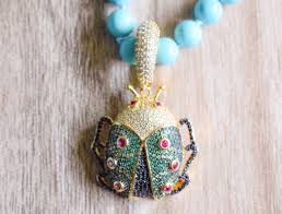 blue jade necklace images Blue jade necklace with pav daisy scarab beetle jpg