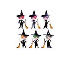 halloween background with witch motive vector illustration for