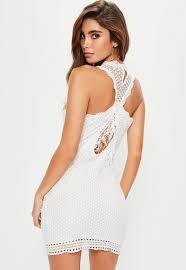 white lace dress white lace fringe detail mini dress missguided